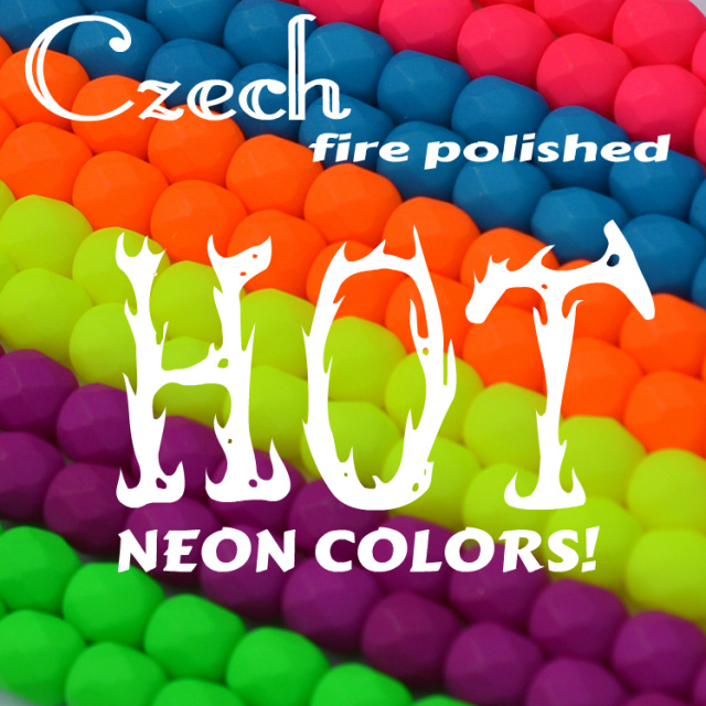 Genuine Czech fire polish beads in HOT neon colors!