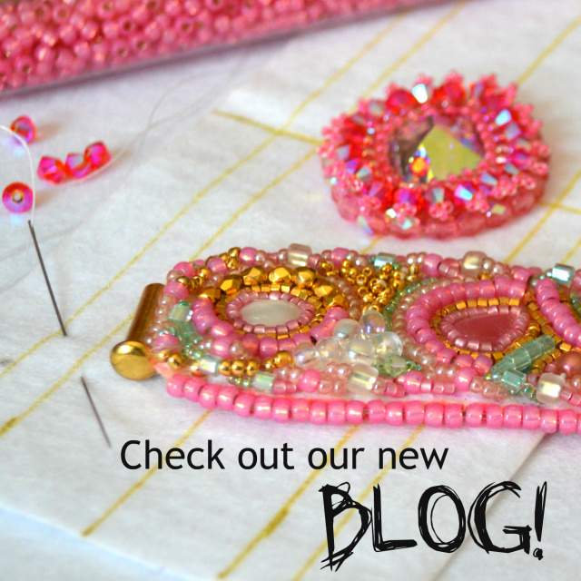 Check out our new beading blog! Bead embroidered cuff bracelet on Lacy's Stiff Stuff.